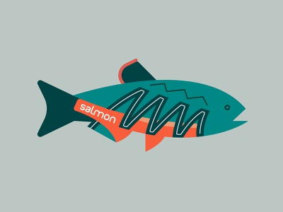 Salmon minimalist illustration salmons fishing fish running shoes salomon salmon