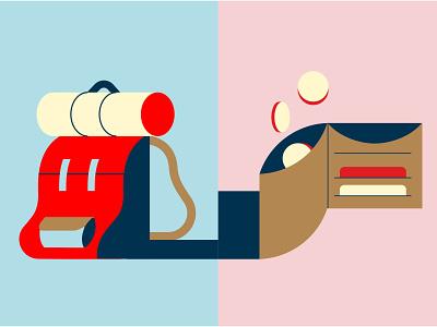 Travel & Money minimalist illustration backpack bag money travel