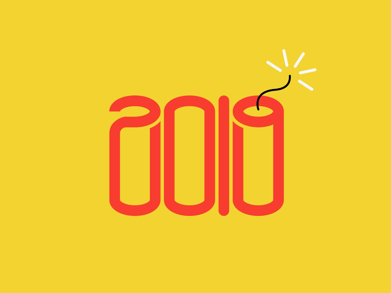 2019 icon minimalist illustration happy new year new year 2018 2019 dynamite explosion