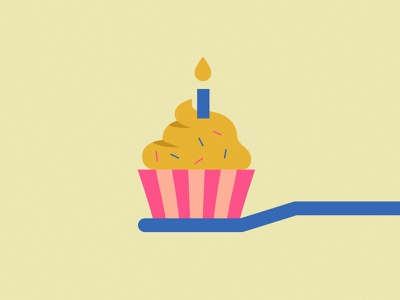 Birthday minimalist illustration cupcake birthday toothbrush toothpaste