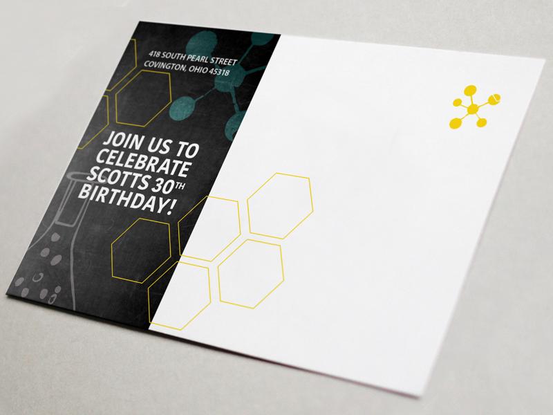 Postcard Birthday Invite themes science postcard birthday invite