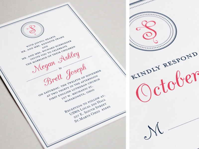 Monogram Wedding Invitation simple  clean 2-color rsvp wedding stationery