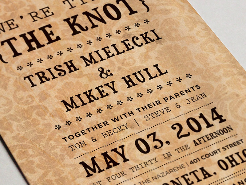Wedding Invite 1-color tying the knot texture rustic stationery wedding