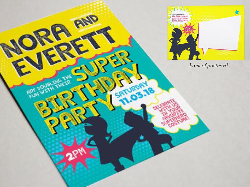 Superhero Postcard Invite childrens stationery superhero postcard party invitation invitations colorful design stationery