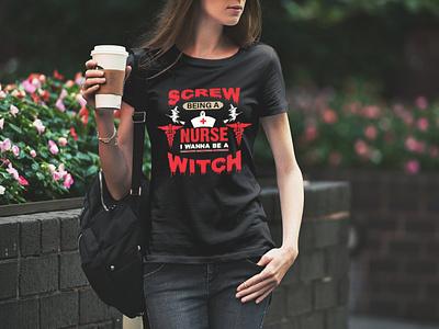 Halloween with nurse t shirt art designvector t shirt nurse halloween
