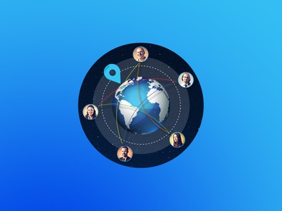 TEM collaboration tool illustration landing web site tool. icon artwork earth collaboration