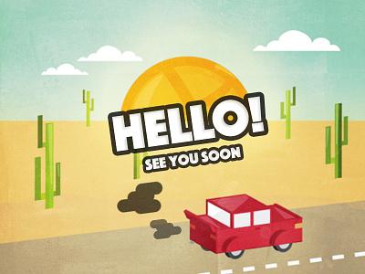 Hello Dribbble! first shot desert car dribbble debut