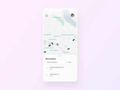 Mobile app for Taxi inteface gradients card taxi mobile app animation service minimal ux ui design