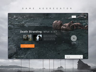 Game aggregator animation type interface design inteface flat icon illustration gaming game death stranding website site service web vector ui ux typography minimal design