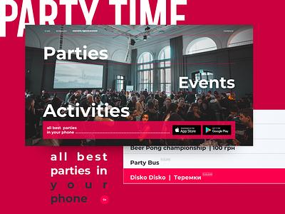 PartyTime [coming soon] branding inteface website site web ui ux typography minimal design