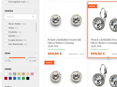 Filter search color grey orange brand list product filter eshop ecommerce
