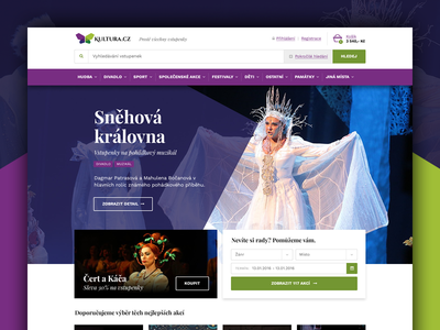 Kultura.Cz responsive website green purple theatre cinema concert culture ui webdesign web