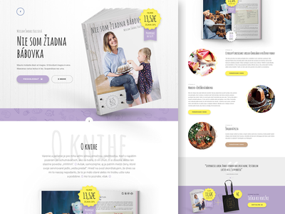 Nie som ziadna babovka website funny yellow wood purple baking book cooking landing page