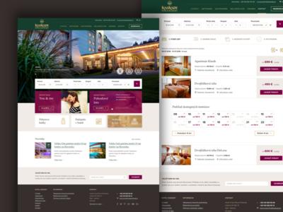 Kaskady web vacation nature brown purple green slovakia spa resort hotel website