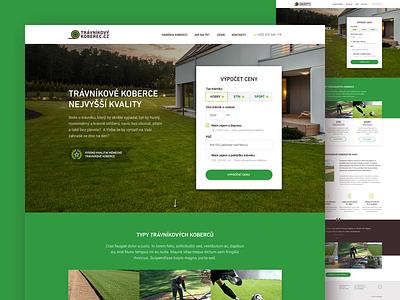 Travnikove koberce typography sod brown adobe photoshop webdesign web slovakia czech grass green lawn