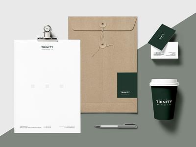 Trinity white sans serif simple dark logo green law branding