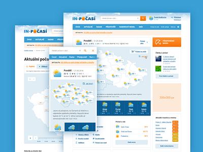 Inpocasi.cz clouds orange blue design app webapp mobile ui web design webdesign web responsive weather