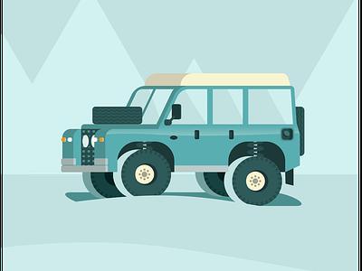 Defender 1st Gen, my dream car flatdesign illustration