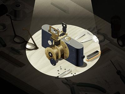 Leica 0 Prototype - History of Cameras illustrator cameras photography isometric