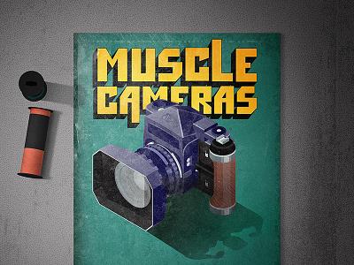 Asahi Pentax 6x7 - History of Cameras vintage illustrator medium muscle pentax cameras photography isometric