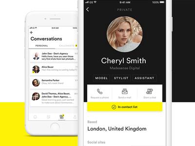 iOS design for modelling communication platform clean simple platform communication modeling design minimal ui app