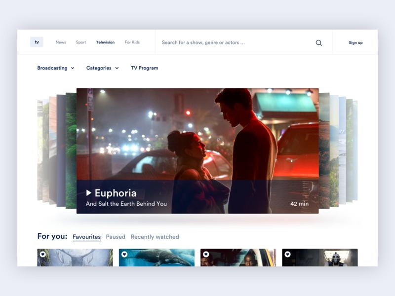 Interactive video gallery slider browsing content ui visual app design online platform media video