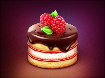 Cake berry jam raspberries cream chocolate dessert sweet slice eat pie cake icon dough food loggia