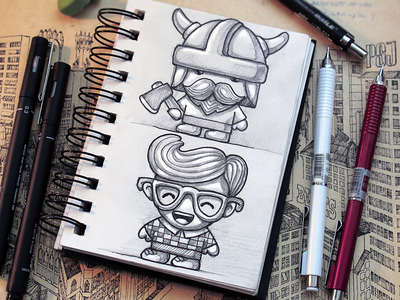 Characters ios loggia mobile design drawing cute hipster beard mustache game characters sketches pencil warrior pen axe happy glasses paper appstore icon tiny viking sketchbook