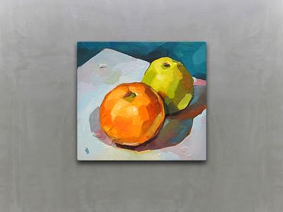 Still life illustration gallery food fruit tangerine apple painting paint picture stilllife loggia oil