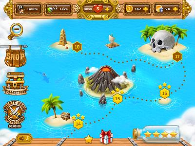 Game Map illustration game artist ux game art shark palm skull play ui art mobile game social vector casual matching