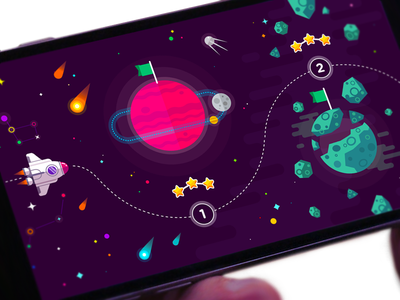 Space Game Map Selector ios flat space adventure game design map shuttle location planet casual game space