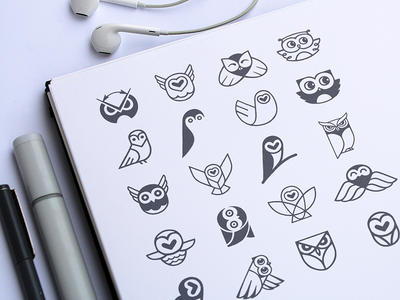 Owl Sign Options brand exploration app icon design character design kids app visual identity sketch bird animal logo owl illustration identity cute flat minimal bird wing owl loggia sketch logo sign branding