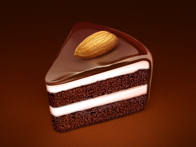 Cake app logo icon food cake almonds cream chocolate sweet eat loggia slice dessert
