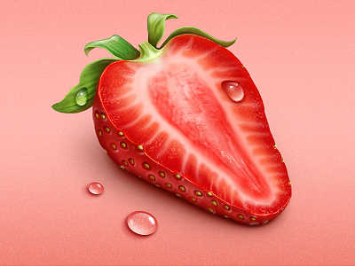 Strawberry strawberry fruit food icon water drops illustration sweet eat loggia