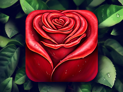 Rose App icon drops application iphone ios icons loggia leaf mobile rose flower icon app texture ipad drop appstore