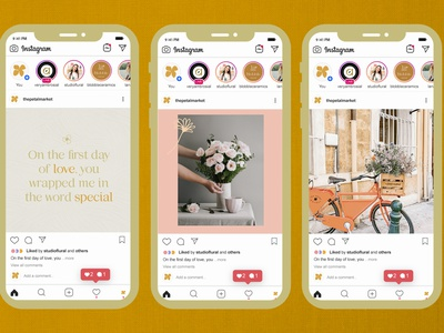 The Petal Market Social Media vector logo minimal photography art instagram post socialmediapost illustrator illustration graphic design design branding