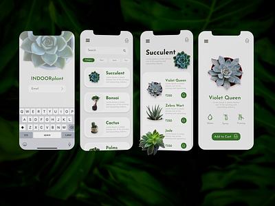 Indoor Plants App ui design xd design