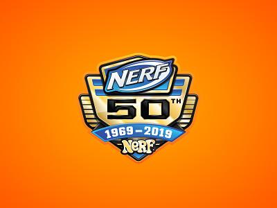 Nerf 50th Badge retro icon gold seal 50 badge nerf