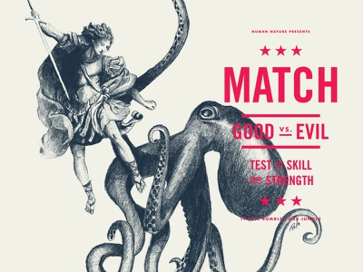 Match  typography overlay 2color illustration