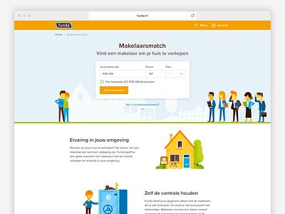 Makelaarsmatch branding ux typography illustration real estate agent website ui sketch real estate funda