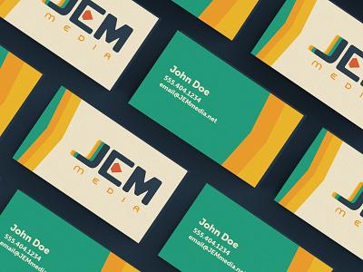 JEM Media Business Card stationary retro video content content creation media agency brand identity branding and identity collateral branding