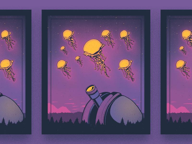 Observations outer space landscape observatory jellyfish alien illustration gig poster art print screenprint