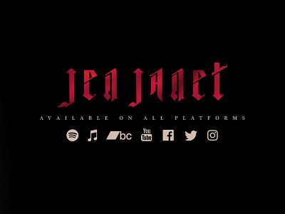 Jen Janet Logo indie rock alternative pop singer gothic music visual branding typography