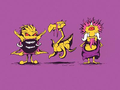 Isaac, Terry, and Dave illustration digital art drawing illustrator cartoon illustration character design cartoon monster