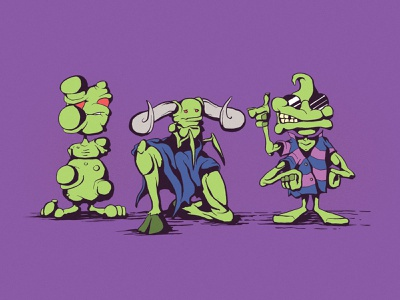 Harry, Bruce, and Val digital coloring hand drawn character design cartoon monster drawing digital art illustration