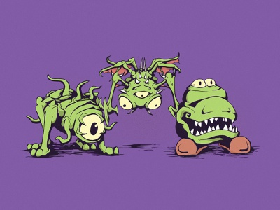 Lou, Mina, and Vince creature character design cartoon sketchbook illustrator illustration drawing monster