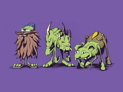 Barry, Cyrus, and Belle sketchbook drawing illustration character design cartoon monster