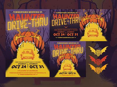 Timberyard Brewing Haunted Drive-Thru illustration hops bat jackolantern halloween haunted house beer brewery