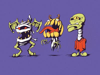 Samuel, Jack, and Frank trick or treat halloween illustrator sketchbook drawing illustration cartoon illustration character design cartoon monster
