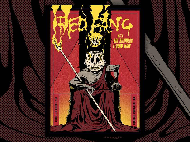 Red Fang Gig Poster screenprint concert hand drawn illustration stoner rock stoner metal dinosaur gig poster